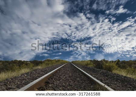 Railway tracks with sky
