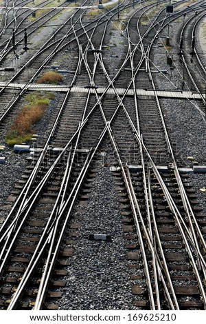 railway tracks with switches