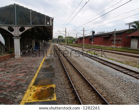 Railway Train Station - stock photo
