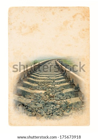 Railway - transport element on paper texture background. Railroad - vintage image with lines of rails. Perspective way on forward railway. Travel by rail - a concept in retro style for old postcards. - stock photo