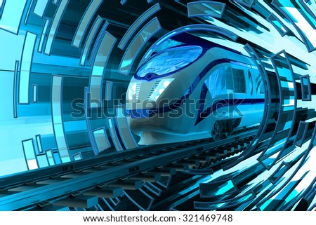Railway transportation concept, fast motion of modern high speed passenger train on railroad tracks on abstract blue circular background - stock photo