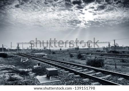 Railway transportation hub in Shanghai, China. - stock photo