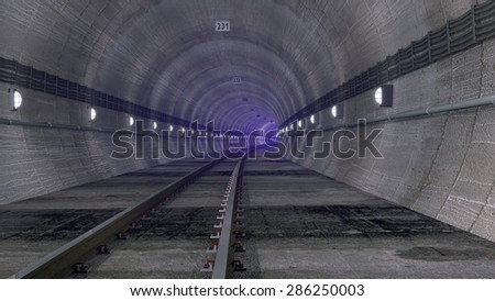 Railway tunnel with purple mist in the distance. Rendered 3d design.