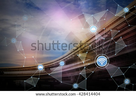 railway viaduct and wireless communication network, abstract image visual, internet of things - stock photo