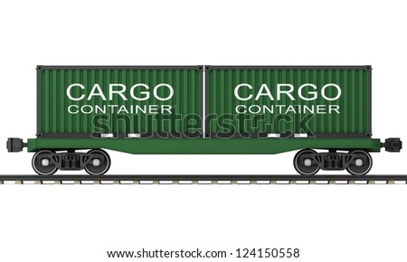 Railway wagon for transportation of containers on a white background. - stock photo