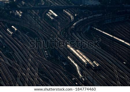 Railway wagons at the railroad yard - stock photo