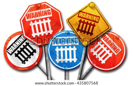 Railway warning sign, 3D rendering, rough street sign collection - stock photo