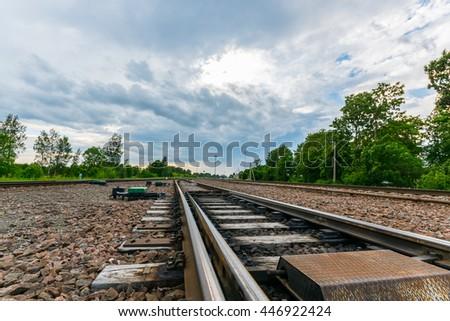 Railways. Nature landscape. Blue clouds. - stock photo