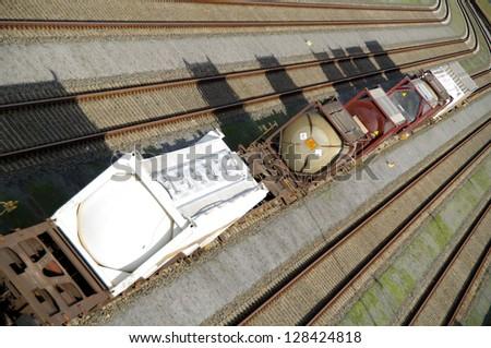 Railways with full trains - stock photo
