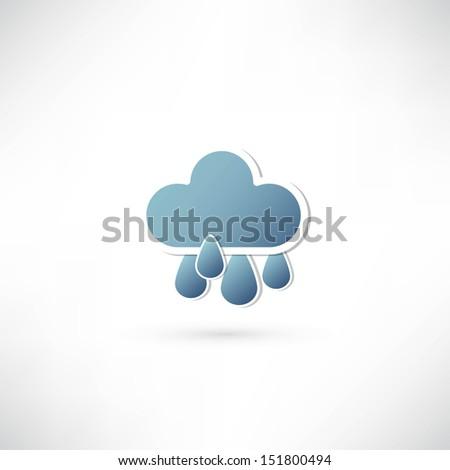 rain and blue cloud icon - stock photo