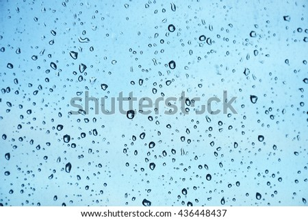 Rain and Blue water drop background on window