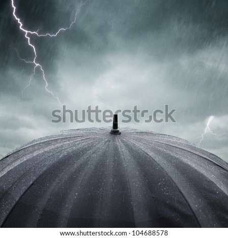 rain and thunderstorm - stock photo