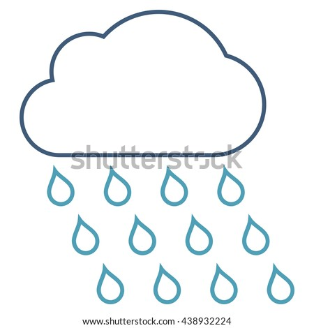 Rain Cloud glyph icon. Style is stroke bicolor flat icon symbol, cyan and blue colors, white background.