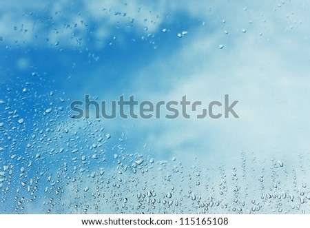rain drop and blue sky background