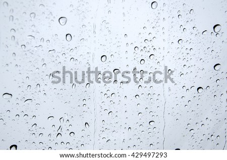 Rain drop at the window, blurry background