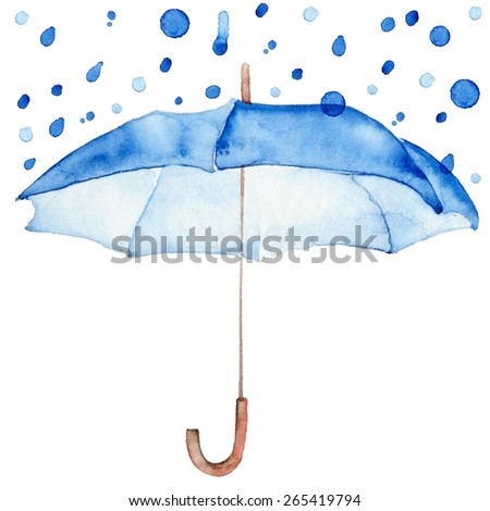 Rain drop on blue umbrella.  Watercolor blue autumn background. Square composition with umbrella and rain drops. Design template for label, banner, card. - stock photo