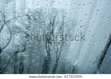 rain drop on glass and outside trees