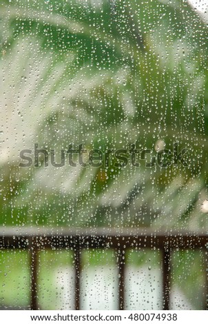 Rain drop on window,shoot at one resort in Ubud,Bali.