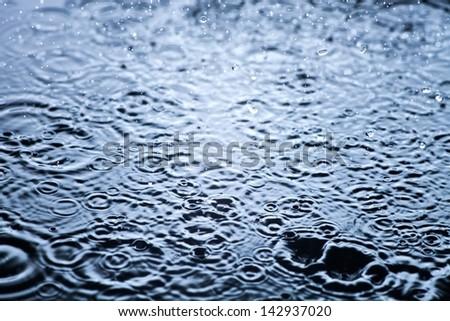 Rain drops frozen, water closeup background - stock photo