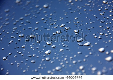 Rain drops of water condensed on the glass