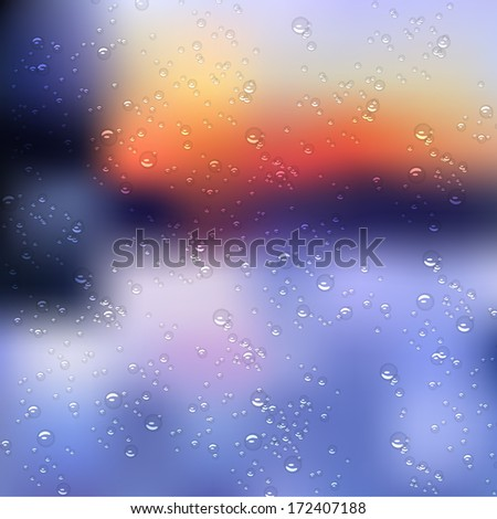 Rain drops on glass. Raster version - stock photo