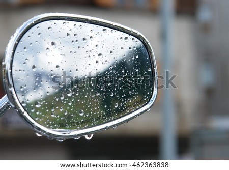 rain drops on mirror