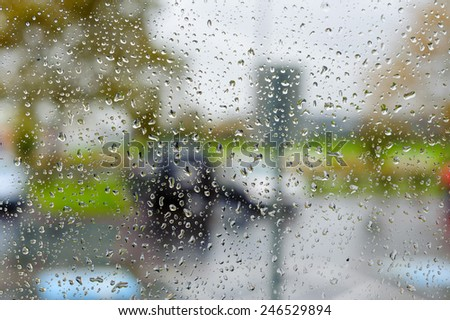 Rain drops on the glass - stock photo