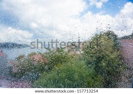 rain drops on window - stock photo