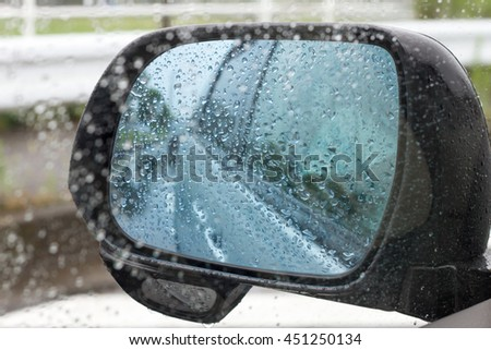 rain drops on window with car glass