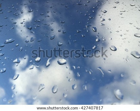 rain drops on windowpane against clouds