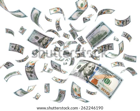 Rain from Dollars - stock photo