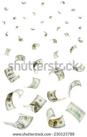 Rain from falling dollars isolated on white background - stock photo