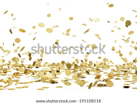 Rain from Golden Coins. Falling Gold Coins Isolated on white background