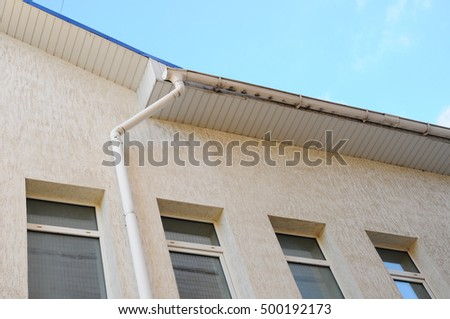 Rain gutters on a home.