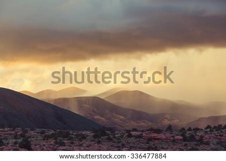 Rain in mountains - stock photo