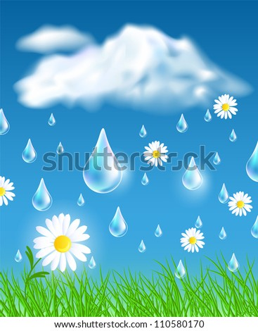 Rain in the meadow. Raster version of vector. - stock photo