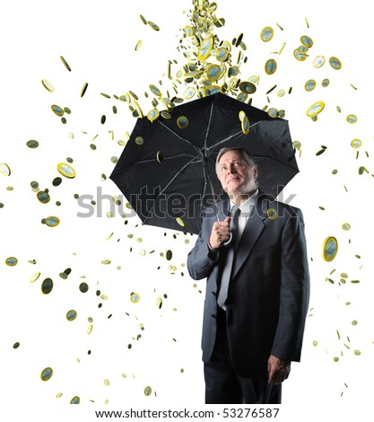 rain money on confident businessman isolated on white background