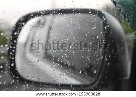 Rain on a car mirror.