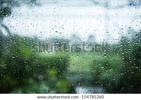 rain on glass - stock photo