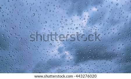 rain on glass with blue lingh