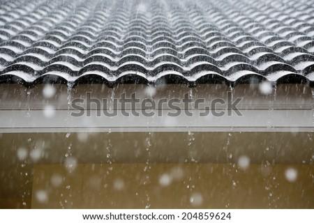 Rain on the roof - stock photo