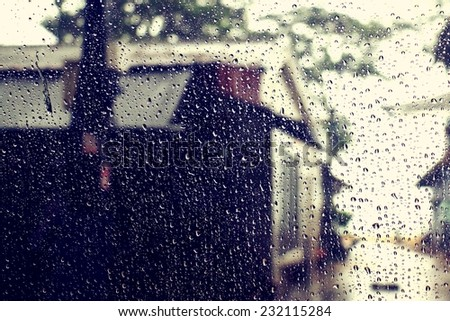 rain on the window - stock photo
