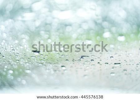 rain or water drops on a window glass - stock photo
