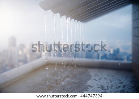 Rain pouring off roof on city background. 3D Rendering - stock photo