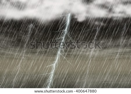 rain storm background with lightning in cloudy weather - stock photo