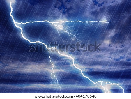 rain storm backgrounds with lightning in cloudy weather - stock photo