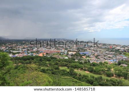 rain storm huahin city Thailand  - stock photo