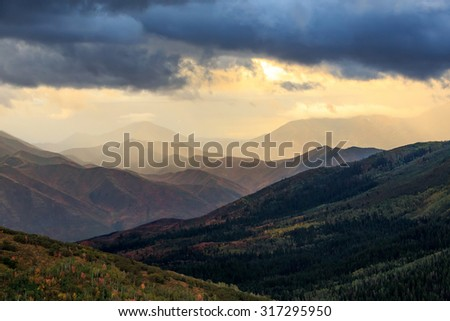 Rain storm in the Wasatch Mountains, Utah, USA. - stock photo