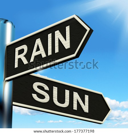 Rain Sun Signpost Showing Rainy Or Good Weather