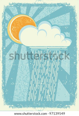 Rain.Vector vintage card with raining sky on old paper texture.Raster - stock photo